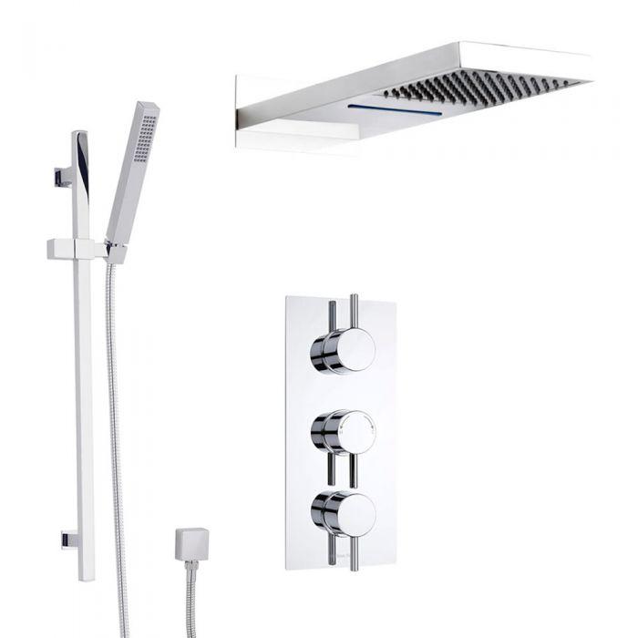 Duschsystem Ecco inkl Kopfbrause mit Wasserfall, Handbrause mit stange & Thermostat Duscharmatur