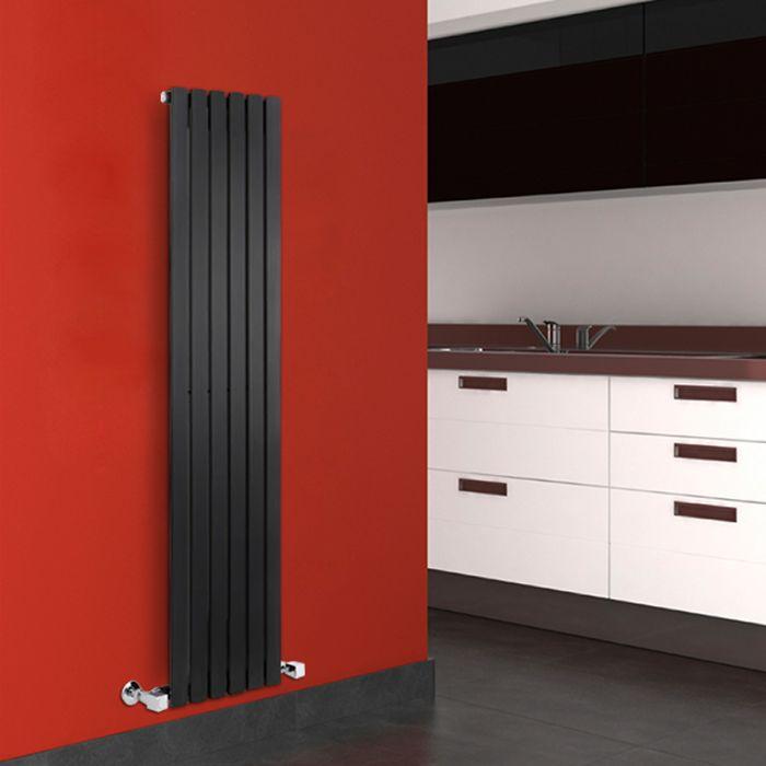 Design Heizkörper Vertikal Einlagig Schwarz 1600mm x 354mm 861W - Sloane