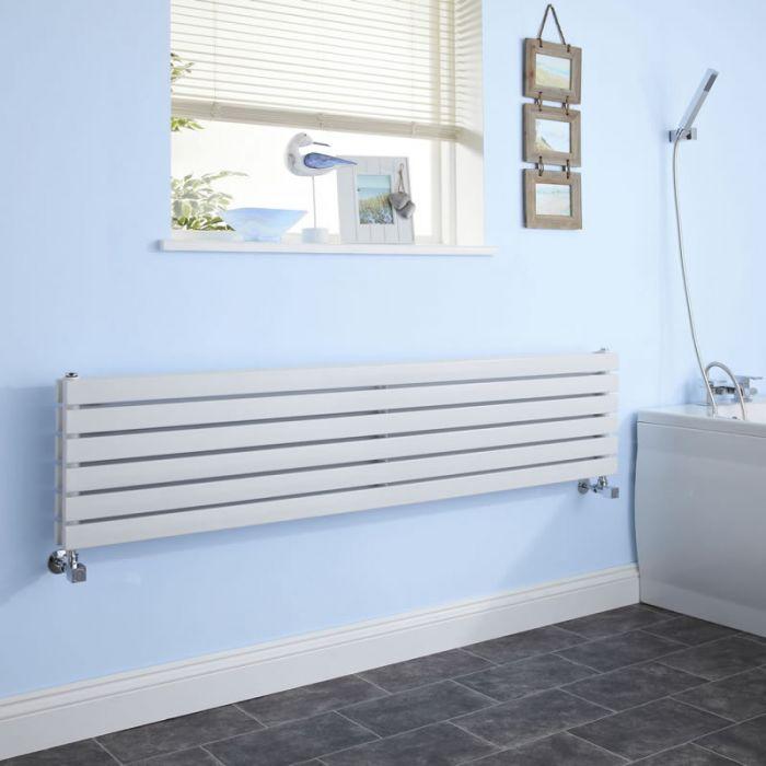 Design Heizkörper Horizontal Doppellagig Weiß 354mm x 1780mm 1426W - Sloane