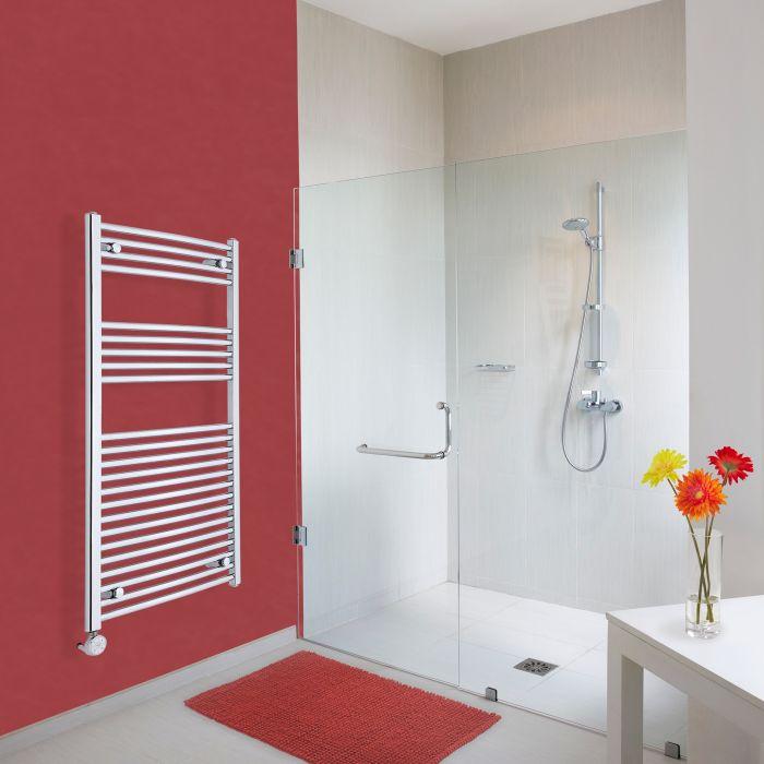 Elektrischer Handtuchheizkörper Gebogen Chrom 1200mm x 600mm inkl. ein 600W Heizelement - Etna
