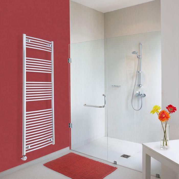 Elektrischer Handtuchheizkörper Gebogen Chrom 1800mm x 600mm inkl. ein 800W Heizelement - Etna