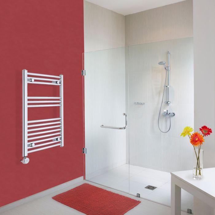 Elektrischer Handtuchheizkörper Gebogen Chrom 800mm x 500mm inkl. ein 400W Heizelement - Etna
