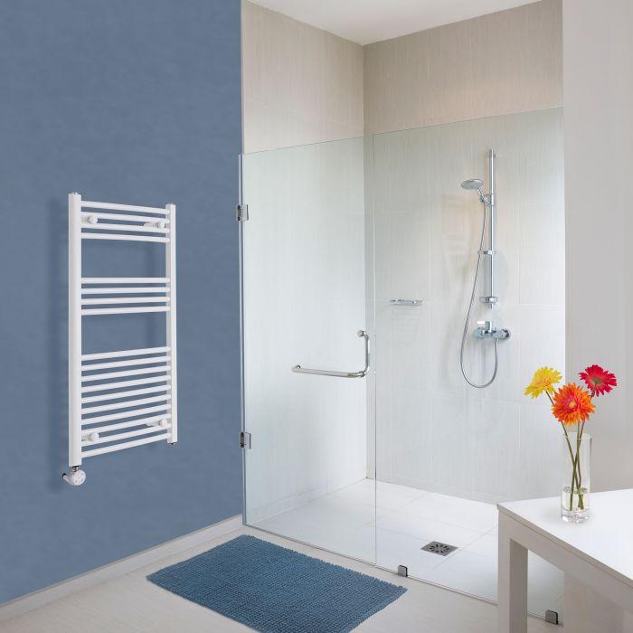 Elektrischer Handtuchheizkörper Gebogen Weiß 1000mm x 500mm inkl. ein 600W Heizelement - Etna