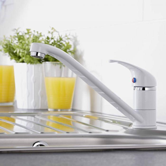 Moderne Ein-Hebel Küchenarmatur mit beweglichem Ausguss, Weiß