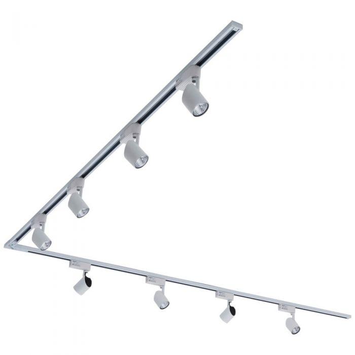 Biard 8x LED Schienenstrahler mit 2x 2m Leiste über Eck Weiß
