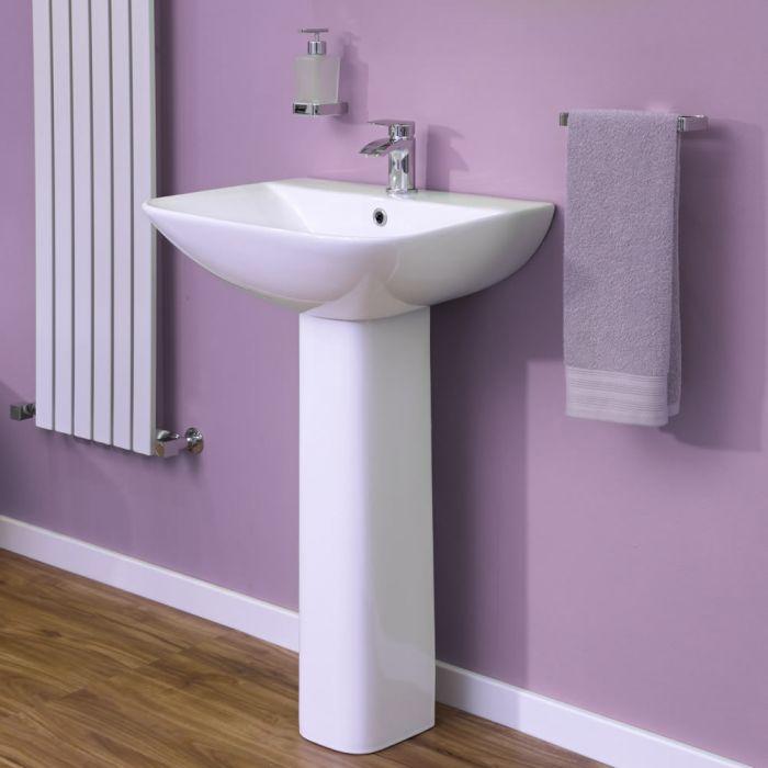 Modernes Waschbecken mit Sockel und 1-Loch Armaturen 550mm