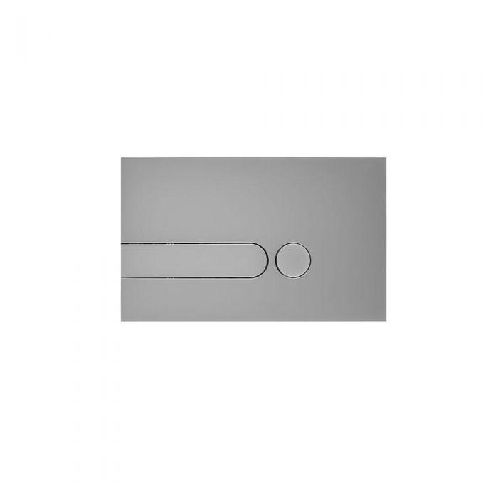 Betätigungsplatte Zweimengentechnik Rund mattes Chrom 150mm x 240mm - Cluo