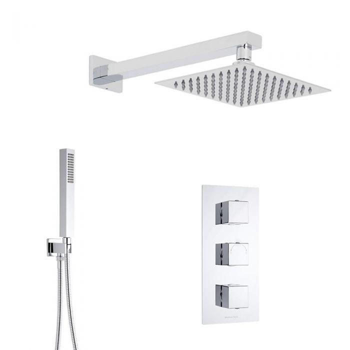 Duschsystem Kubix inkl 20x20cm Kopfbrause, Handbrause & Thermostat Duscharmatur