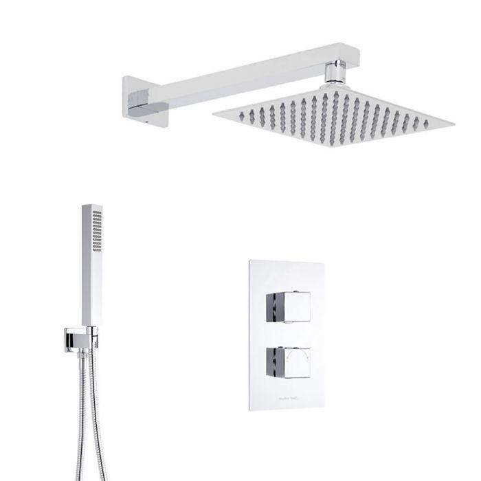 Duschsystem Kubix inkl 30x30cm Kopfbrause, Handbrause & Thermostat Duscharmatur