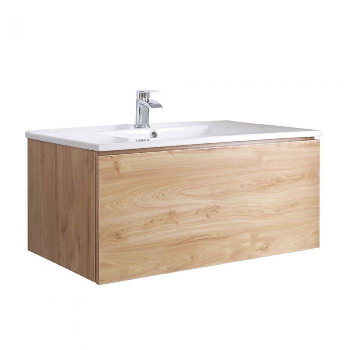 Hudson Reed Newington - 1000mm Moderner Badschrank mit Becken - Goldene Eiche