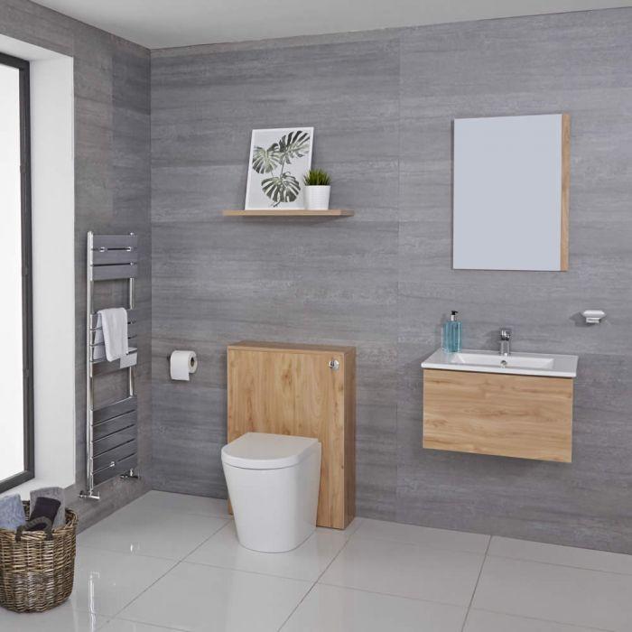 Hudson Reed Newington 600mm Vanity unit mit Becken, Toilette und Wandpanel - Goldene Eiche