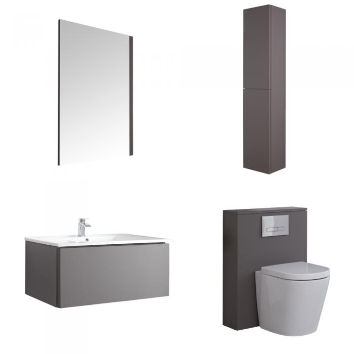 Hudson Reed Newington 800mm Badschrank mit Toilette, Aufbewahrungseinheit und Spiegel - Mattgrau