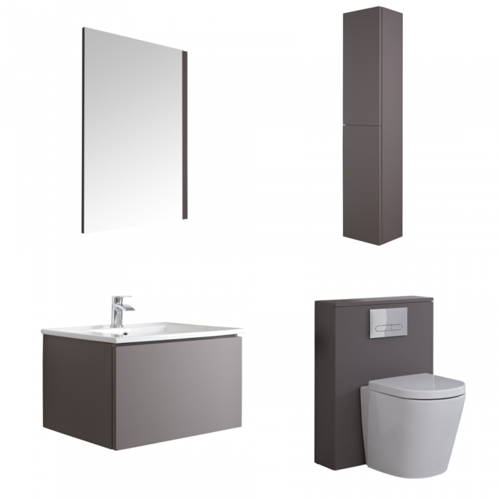 Hudson Reed Newington 600mm Badschrank mit Toilette, Aufbewahrungseinheit und Spiegel - Mattgrau