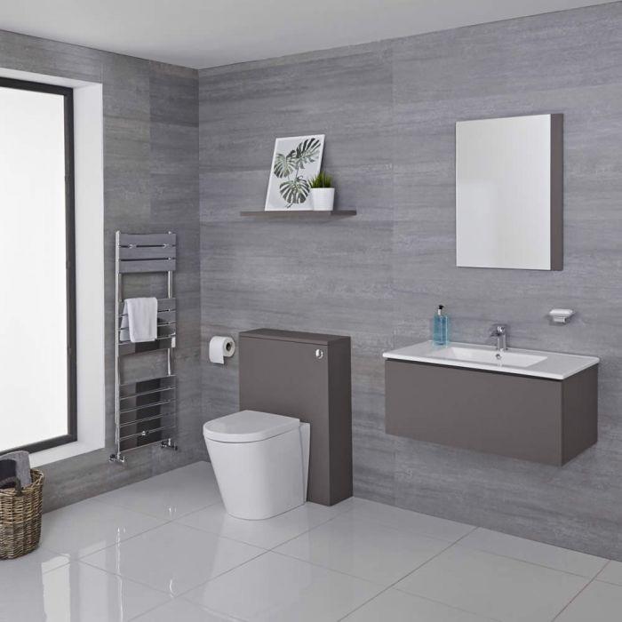 Hudson Reed Newington - Waschtisch mit Unterschrank 800mm & WC mit Vorwandelement - Mattgrau