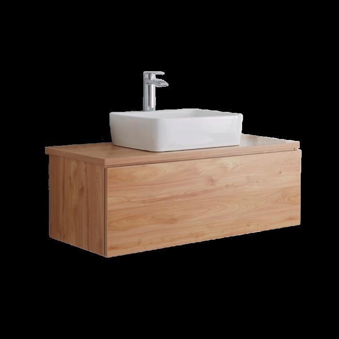 Hudson Reed Newington - 1000mm Moderner Badschrank mit rechteckigem Aufsatzbecken - Goldene Eiche
