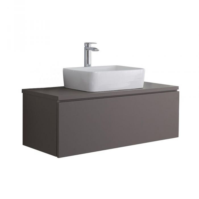 Hudson Reed Newington - 1000mm Moderner Badschrank mit rechteckigem Aufsatzbecken - Mattgrau