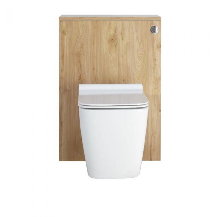 Moderne Toilette mit Vorwandelement Goldene Eiche 600mm inkl. Spülkasten - Newington