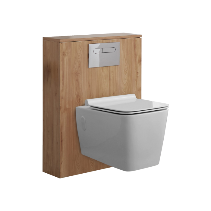 Hudson Reed Newington - 600mm Moderne Toilette mit rechteckiger Wandbefestigung - Goldene Eiche