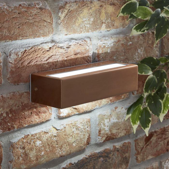 Biard Rechteckige Wandleuchte mit integrierter LED aus Edelstahl - Kupfer