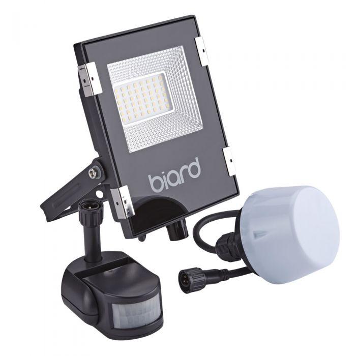 Biard 20W LED Fluter Slimline mit wahlweise Infrarot Bewegungsmelder oder Dämmerungssensor - Schwarz