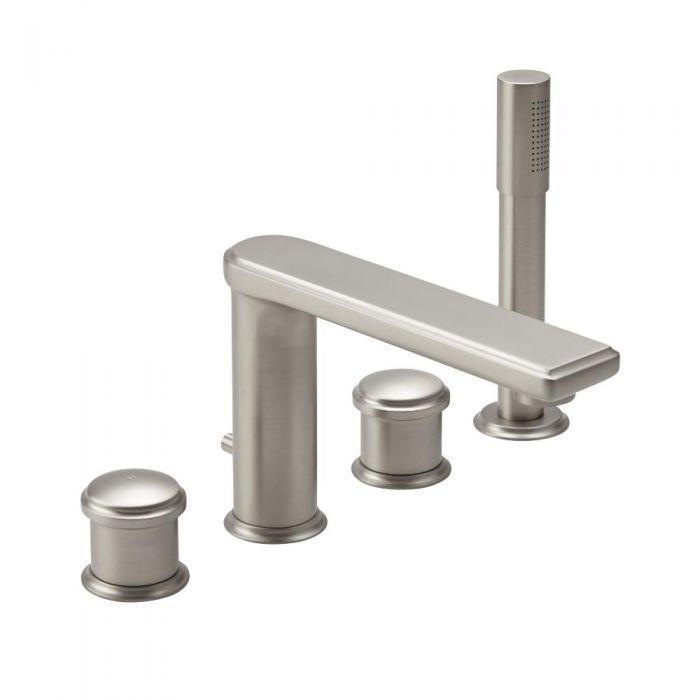 Hudson Reed Aldwick - Moderne 4-Hahnloch Mischbatterie für Dusche und Wanne - Gebürstetes Nickel