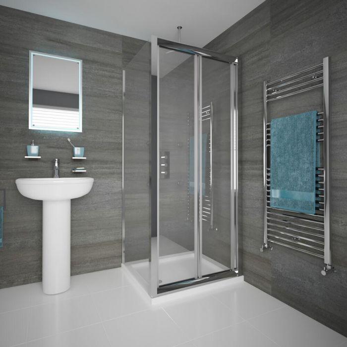 Duschkabine Eckdusche 760mm x 760mm inkl. Duschtasse und Falttür - Portland