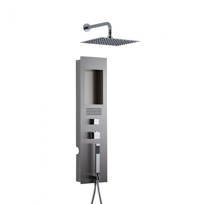 Unterputz Duschpaneel gebürsteter Edelstahl mit 200mm Duschkopf mit Wandarm Quadratisch