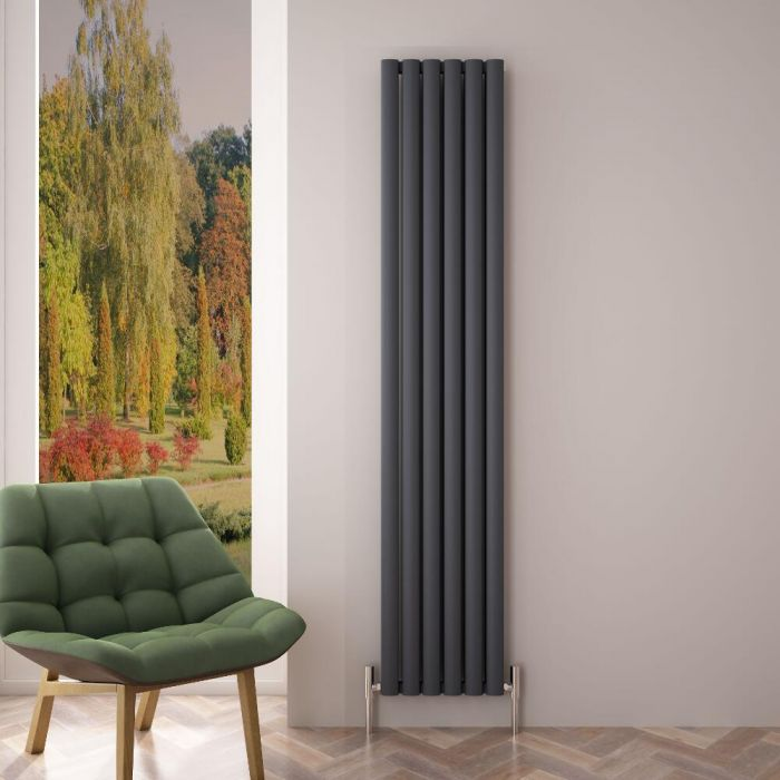 Design Heizkörper Aluminium Doppellagig Vertikal Anthrazit 1800mm x 350mm 1502W - Revive Air