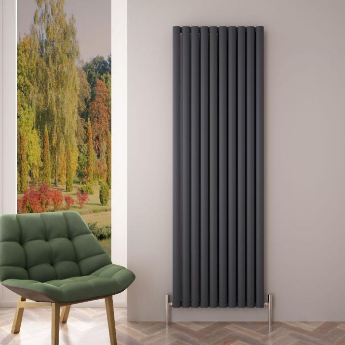 Design Heizkörper Aluminium Doppellagig Vertikal Anthrazit 1800mm x 590mm 2506W - Revive Air