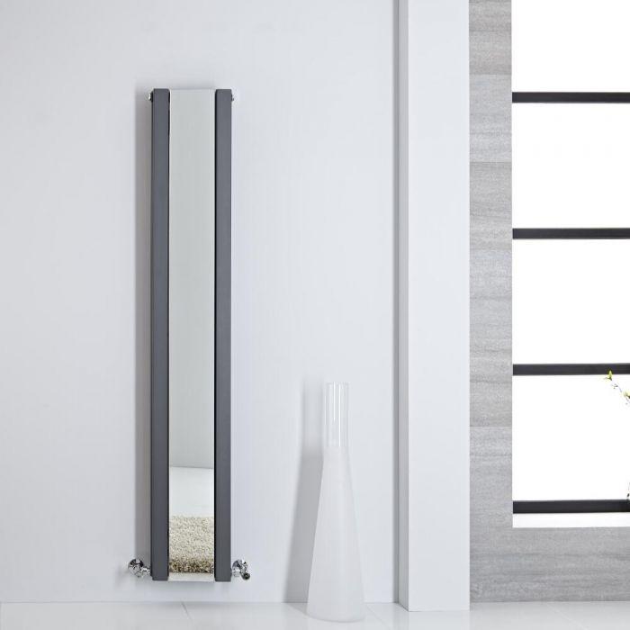 Design Heizkörper mit Spiegel Doppellagig Vertikal Anthrazit 1600mm x 265mm 789W - Sloane