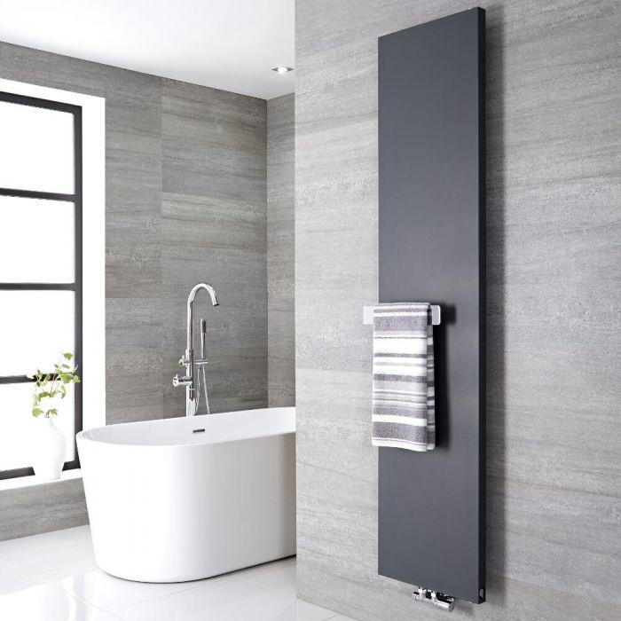 Design Flachheizkörper Vertikal Anthrazit 1800mm x 400mm 842W mit 320mm Handtuchstange - Rubi