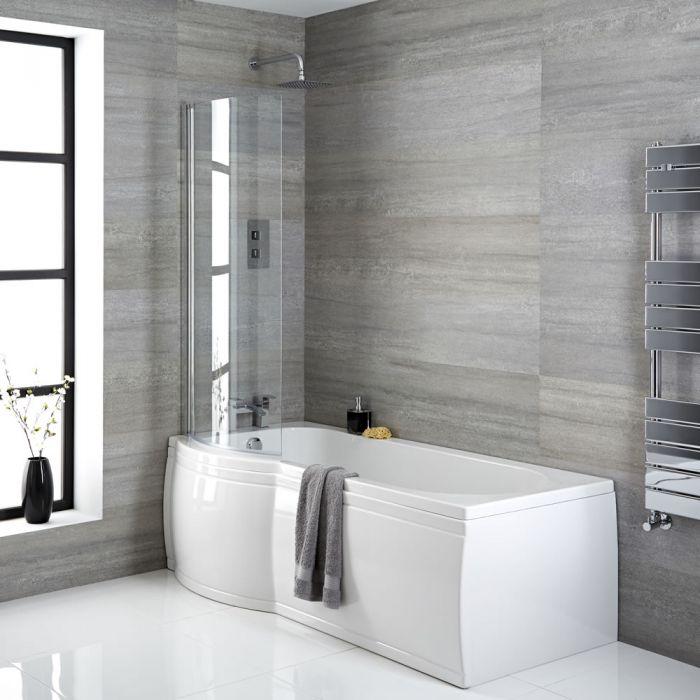 P-förmige Badewanne linksbündig mit Badewannenaufsatz