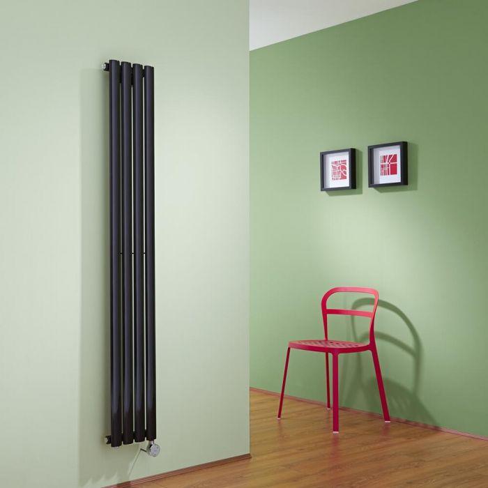 Design Heizkörper Elektrisch Vertikal Einlagig Schwarz 1600mm x 236mm inkl. ein 600W Heizelement - Revive