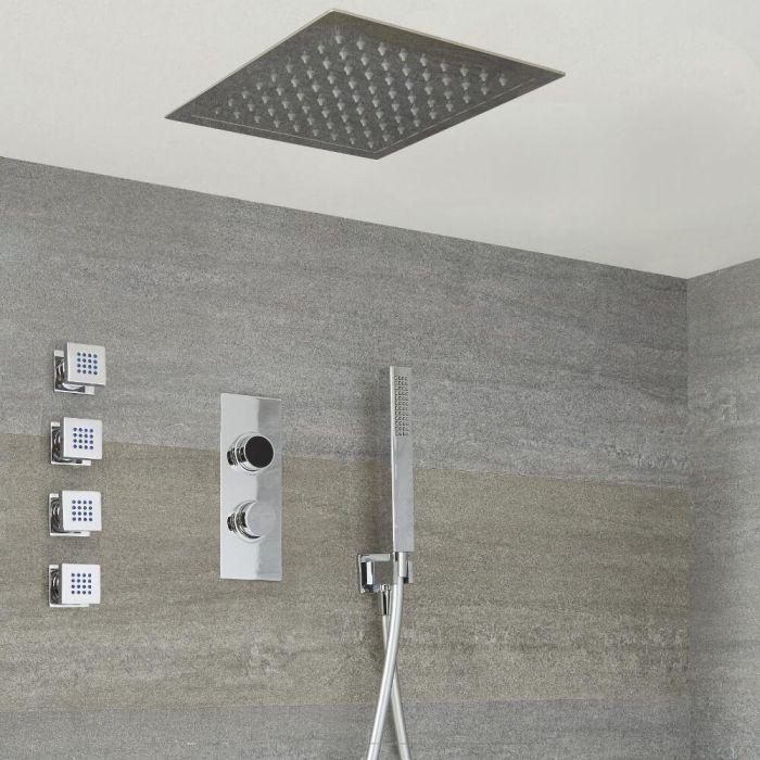 Digitale Dusche für drei Funktionen, inkl. quadratischem 280mm Unterputzduschkopf zur Deckenmontage und Körperdüsen - Narus