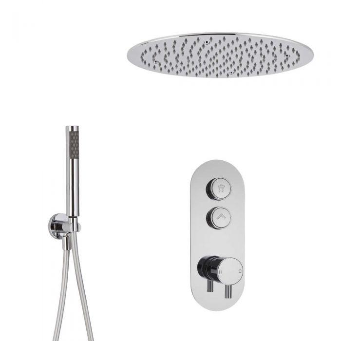 Duscharmatur mit Drucktasten 2 Funktionen, inkl. Handbrause und 400mm Unterputzduschkopf Rund - Idro