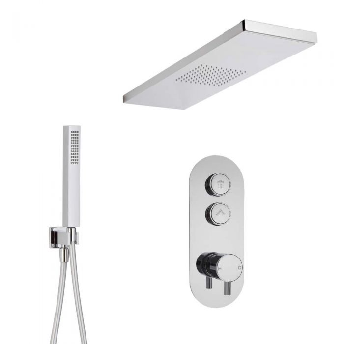 Duscharmatur mit Drucktasten 2 Funktionen, inkl. Handbrause und Glas greifendem Duschkopf - Idro