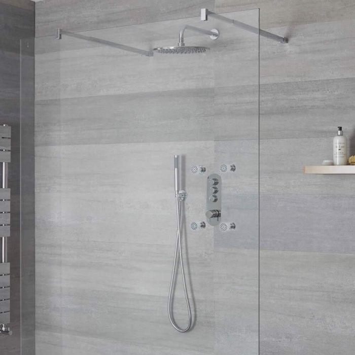 Duscharmatur mit Drucktasten 3 Funktionen, inkl. Handbrause, Duschkopf Wandmontage und Körperdüsen - Idro