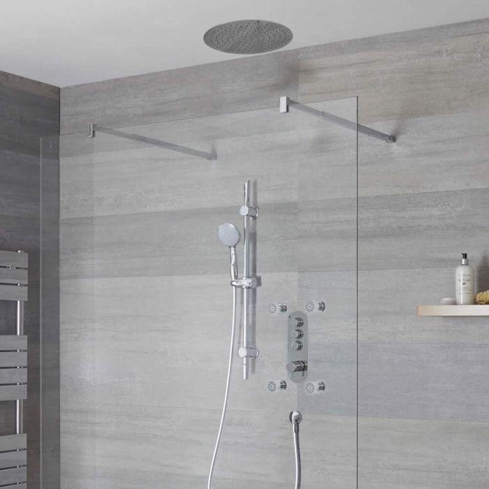 Duscharmatur mit Drucktasten 3 Funktionen, inkl. Duschstange, Unterputzduschkopf Rund und Körperdüsen - Idro