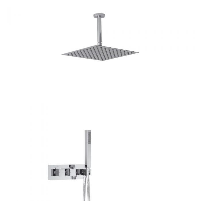 Twin Duscharmatur Unterputz Eckig mit Handbrause & 300mm Duschkopf Deckenmontage - Arvo