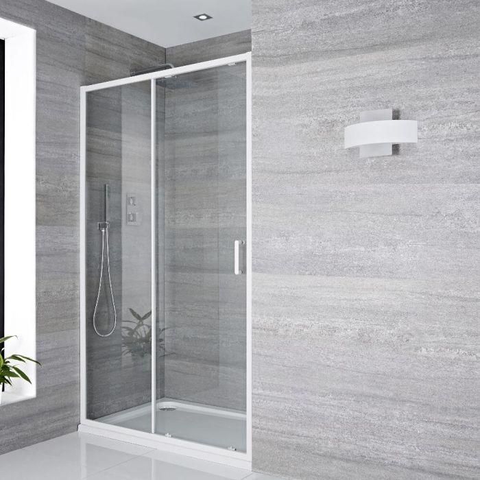 Schiebetür Dusche 1000mm Weiß - Lux