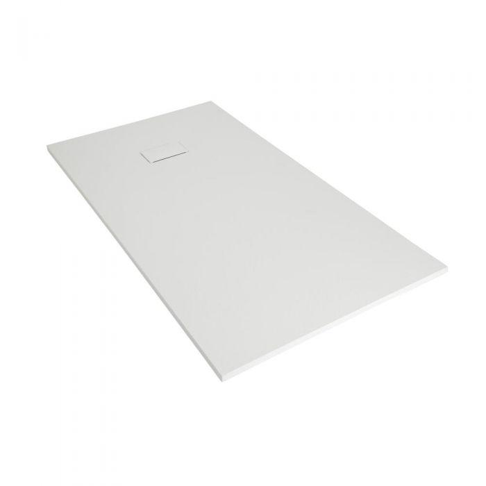 Hudson Reed matt-weiß Stein-Optik rechteckige Duschwanne 1500x900mm