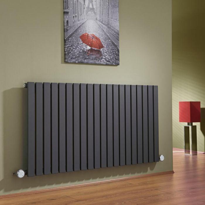 Design Heizkörper Elektrisch Horizontal Einlagig Anthrazit 635mm x 1180mm inkl. 2x 600W Heizelemente - Sloane