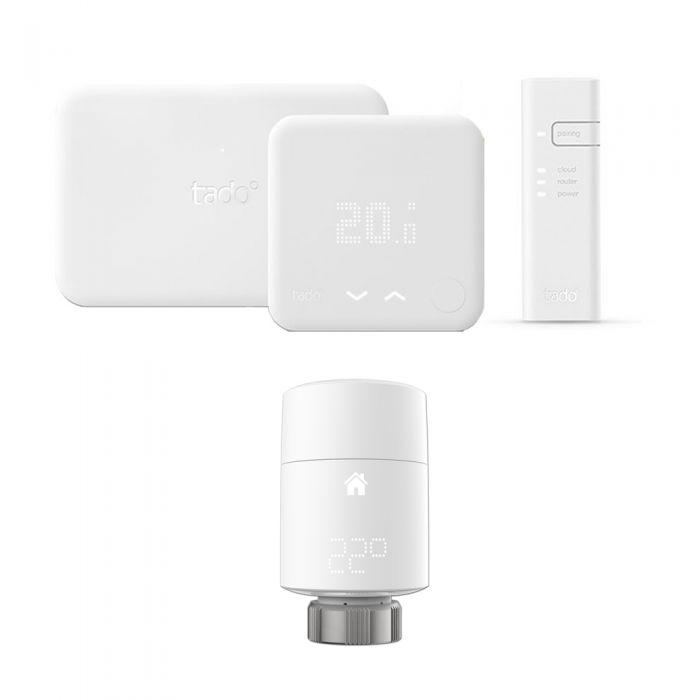 Smartes Thermostat Starter Set inkl. Extension Kit & 2x Smarte Heizkörperventile Vertikal - Tado°
