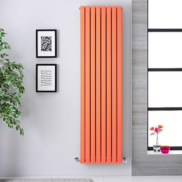 Design Heizkörper Vertikal Orange 1931 Watt 1780mm X 472mm Doppellagig    Sloane