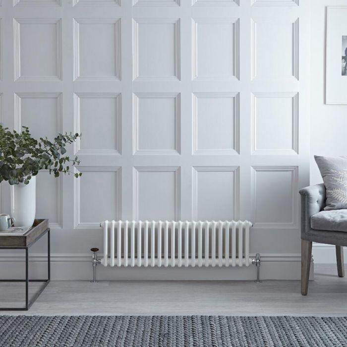 Gliederheizkörper Horizontal 2 Säulen Nostalgie Weiß 300mm x 1013mm 700W - Regent