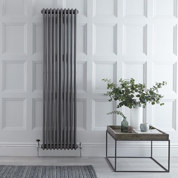 Gliederheizkörper Vertikal 3 Säulen Nostalgie Rohmetall 1800mm x 473mm 1948W - Regent
