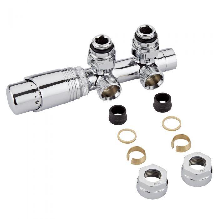 Hahnblock Heizkörperwinkelventil Manuell & thermostatisch Chrom/Weiß inkl. Multiadapter für 16mm Kupferrohre im Set
