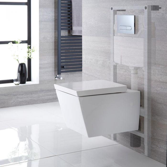 Hänge WC Quadratisch inkl. Unterputzspülkasten 1150mm x 500mm und wählbarer Betätigungsplatte - Halwell