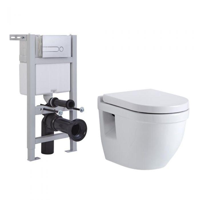 Hänge WC Oval mit Unterputzspülkasten für Verkleidung & wählbarer Betätigungsplatte - Newby