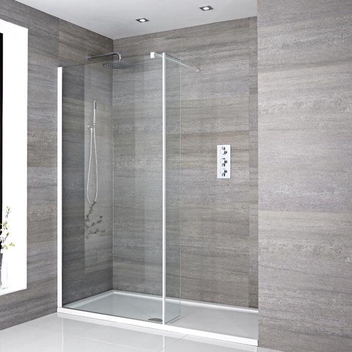 Walk-In Duschwand 1700mm x 800mm mit Seitenteil & Duschtasse - Lux